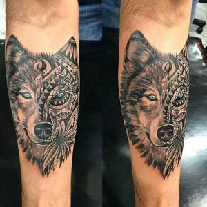 25 of the best wolf tattoos you have got to see we love wolves blog. Black Bedroom Furniture Sets. Home Design Ideas