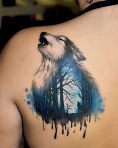 Howling Landscape Wolf