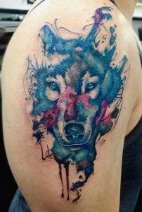 Ink Splatter Watercolor Wolf Tattoo