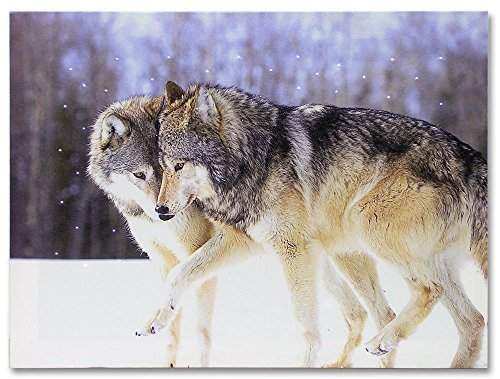 Kissing Wolves LED Lighted Canvas Print Home Decor: gifts for wolf lovers