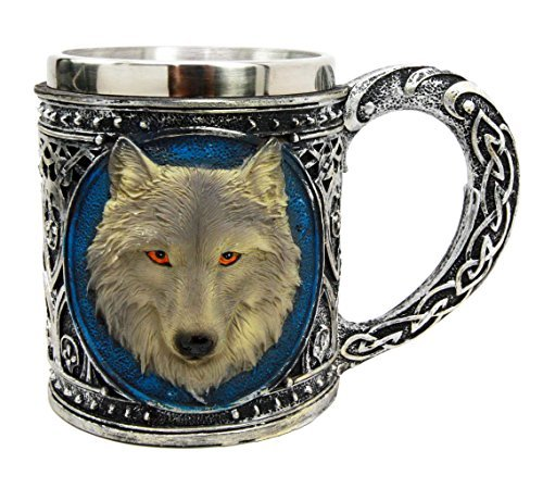Atlantic Collectibles Alpha Gray Wolf Celtic Tribal Magic Resin 16oz Mug With Stainless Steel Rim Figurine: Gifts for wolf lovers