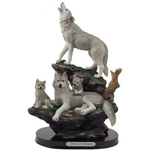 Howling Wolf and Family on a Rock Statue for Decorative Lodge and Rustic Cabin Decor: gifts for wolf lovers